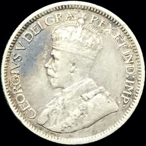 1914 CANADA 10 CENTS DIME KM 23 FOREIGN SILVER COIN GEORGE V