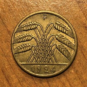 Click now to see the BUY IT NOW Price! 1924 F GERMANY 10 RENTENPFENNIG COIN KM 33 XF  2834