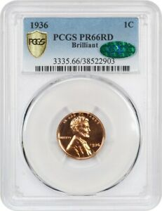 1936 1C PCGS/CAC PR 66 RD  TYPE 2 BRILLIANT FINISH   PROOF LINCOLN CENT