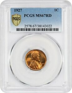 1927 1C PCGS MS67 RD   CHERRY RED GEM   LINCOLN CENT   CHERRY RED GEM