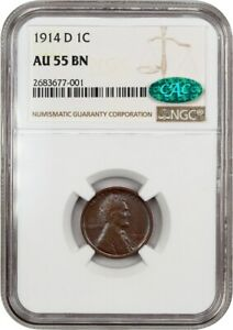 1914 D 1C NGC/CAC AU55 BN   KEY DATE   LINCOLN CENT   KEY DATE