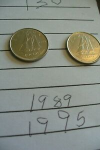 TWO  2  CANADA 10 CENTS COINS  1995 & 1989  130