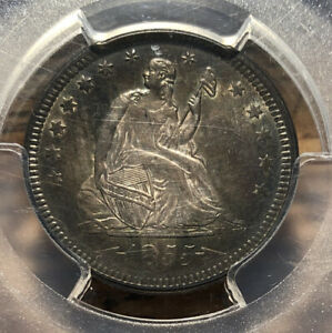 Click now to see the BUY IT NOW Price! 1855 SEATED LIBERTY QUARTER ARROWS PCGS MS 64