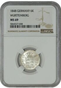 Click now to see the BUY IT NOW Price! 1848 GERMANY 6 KREUZER WURTTEMBERG MS69 NGC   FINEST KNOWN  942943 9