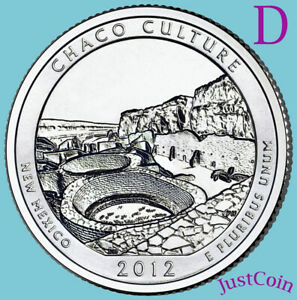 2012 D CHACO CULTURE NATIONAL HISTORIC PARK QUARTER FROM UNCIRCULATED MINT ROLL