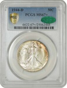 Click now to see the BUY IT NOW Price! 1944 D WALKING LIBERTY HALF 50C MS67  PCGS SECURE CAC 942589 3