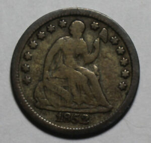 1852 SEATED HALF DIME WR883