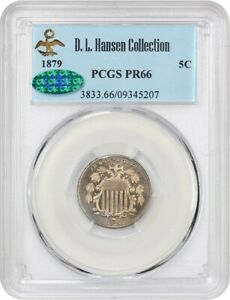 1879 5C PCGS/CAC PR 66 EX: D.L. HANSEN   LOVELY GOLDEN PROOF   SHIELD NICKEL