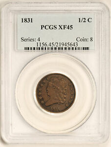 Click now to see the BUY IT NOW Price! 1831 CLASSIC HEAD 1/2C PCGS XF 45 BN