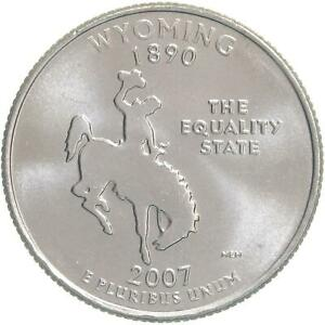 2007 D STATE QUARTER WYOMING CHOICE BU CN CLAD US COIN