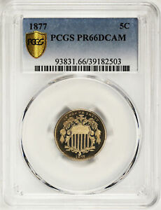 Click now to see the BUY IT NOW Price! 1877 SHIELD 5C PCGS PR 66 DCAM