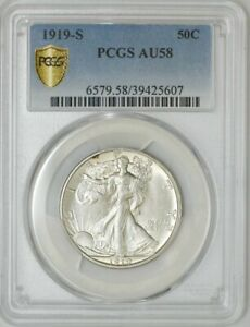 Click now to see the BUY IT NOW Price! 1919 S WALKING LIBERTY HALF 50C AU58 SECURE PLUS PCGS 942667 14