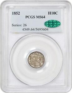 Click now to see the BUY IT NOW Price! 1852 H10C PCGS/CAC MS64   SEATED HALF DIME