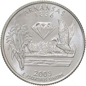 2003 D STATE QUARTER ARKANSAS CHOICE BU CN CLAD US COIN