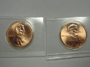 2011 P AND 2011 D GEM BU LINCOLN SHIELD CENTS ORIGINAL MINT CELLO PACKS