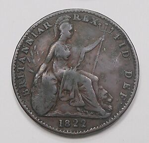 GREAT BRITAIN 1822 FARTHING F VF  & NICE KING GEORGE IV OLD UK COPPER COIN