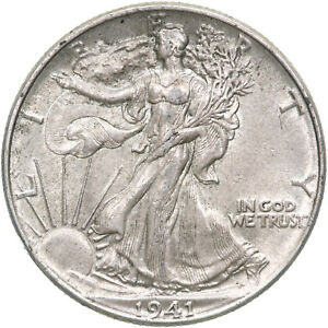 1941 WALKING LIBERTY HALF DOLLAR 90  SILVER ABOUT UNCIRCULATED AU