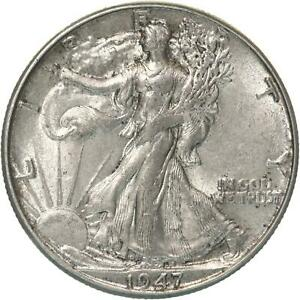 1947 D WALKING LIBERTY HALF DOLLAR 90  SILVER ABOUT UNCIRCULATED AU