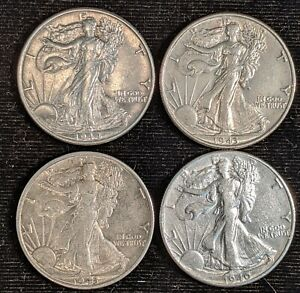LOT 4 AU/XF SILVER WALKING LIBERTY HALF DOLLARS 1940P 1943P 1943S 1944P WW2 ERA