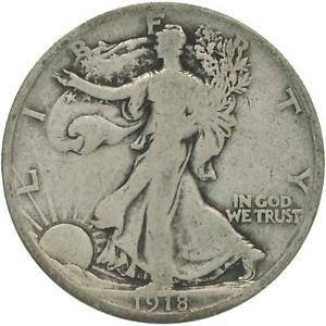 1918 S WALKING LIBERTY HALF DOLLAR 90  SILVER GOOD VG