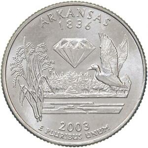 2003 D STATE QUARTER ARKANSAS GEM BU CN CLAD US COIN