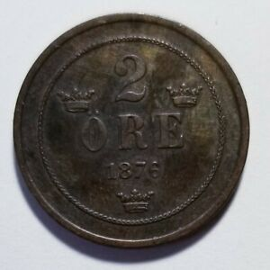 1876 NORWAY 2 RE BRONZE PRICED RIGHT SHIPPED FREE C152