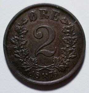 1876 NORWAY 2 RE BRONZE NICE XF  PRICED RIGHT SHIPPED FREE C153