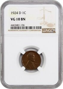 1924 D 1C NGC VG 10 BN   LINCOLN CENT