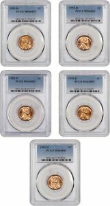 LOT OF 1955 D 1C PCGS MS66 RD  5 COINS    LINCOLN CENT