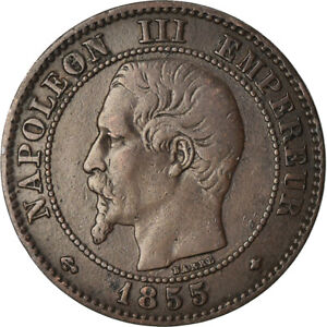 [881111] COIN FRANCE NAPOLEON III 2 CENTIMES 1855 STRASBOURG EF 40 45