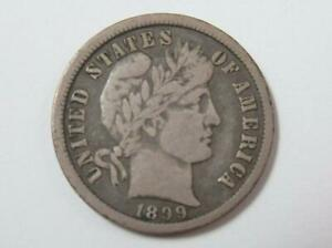 US 1899 O BARBER SILVER 10 CENT DIME COIN