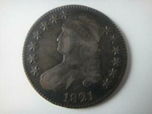 US 1821 CAPPED BUST SILVER 50 CENT 1/2 HALF DOLLAR COIN