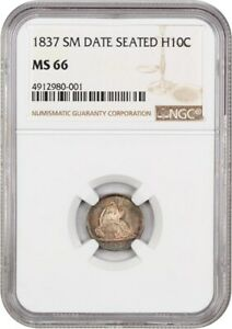1837 H10C NGC MS66  NO STARS SMALL DATE  POPULAR TYPE COIN   SEATED HALF DIME