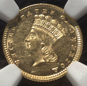 1871 $1 GOLD NGC MS 61