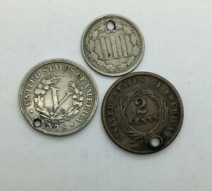 Click now to see the BUY IT NOW Price! 1883 WITH CENTS NICKEL 1865 TWO CENTS 1866 3 CENTS NICKEL HOLED COLLECTOR COINS