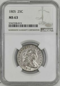 1805 DRAPED BUST QUARTER 25C MS63 NGC 942336 3