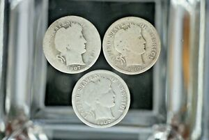 1907 BARBER HEAD DIMES  LOT OF 3   AC 212