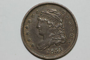 1834 ABOUT UNCIRCULATED CONDITION SEATED LIBERTY HALF DIME  BHDX247