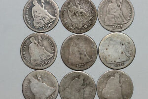 LOT OF NINE 1875 1891 SEATED LIBERTY SILVER DIMES  NUM4639