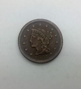 1851 CORONET HEAD   LARGE CENT  PLEASING ORIGINAL COIN NICE COLOUR TYPE COIN