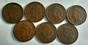 1893 1894 1895 1897 1898 1899 1900 INDIAN HEAD PENNY ALMOST COMPLETE SET OF 7