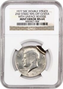MINT ERROR: 1977 50C NGC MS64  2ND STRIKE 90  OFF CENTER WITH UNIFACE REVERSE