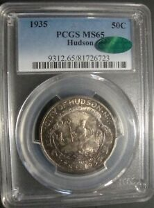 1935 HUDSON SILVER COMMEMORATIVE HALF DOLLAR IN PCGS MS 65 W/CAC   GREAT TONING
