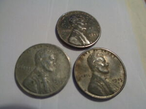 1943  D S STEEL WHEAT CENT PENNY SET  3 COINS