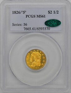 1826/'5' CAPPED BUST $2.5 PCGS MS 61