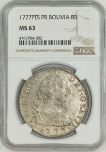 Click now to see the BUY IT NOW Price! 1777PTS PR BOLIVIA 8 REALES MS63 NGC 943043 1