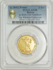 Click now to see the BUY IT NOW Price!  C.1841  POTOSI BOLIVIA 2 ESCUDOS SECURE PLUS AU58 WHITTIER COLLECTION PCGS