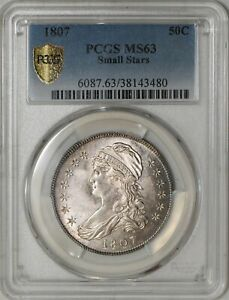 Click now to see the BUY IT NOW Price! 1807 CAPPED BUST HALF 50C SMALL STARS O 113A R.3 MS63 SECURE PLUS PCGS 942107 2