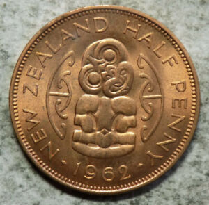 NEW ZEALAND 1962 1/2 PENNY COIN