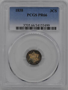 Click now to see the BUY IT NOW Price! 1858 SILVER 3CS PCGS PR 66